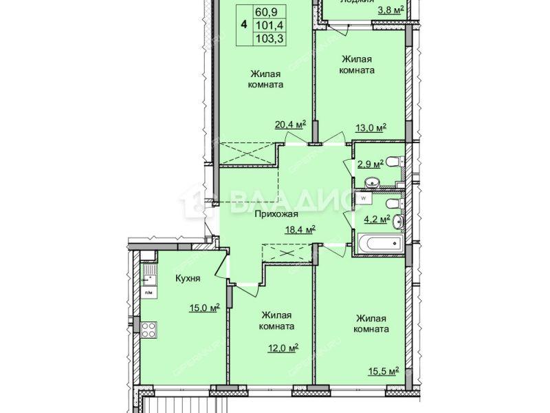 четырёхкомнатная квартира в новостройке на улице Цветочная, дом №7 по генплану