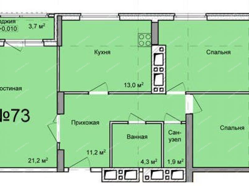 трёхкомнатная квартира в новостройке на проспекте Кораблестроителей