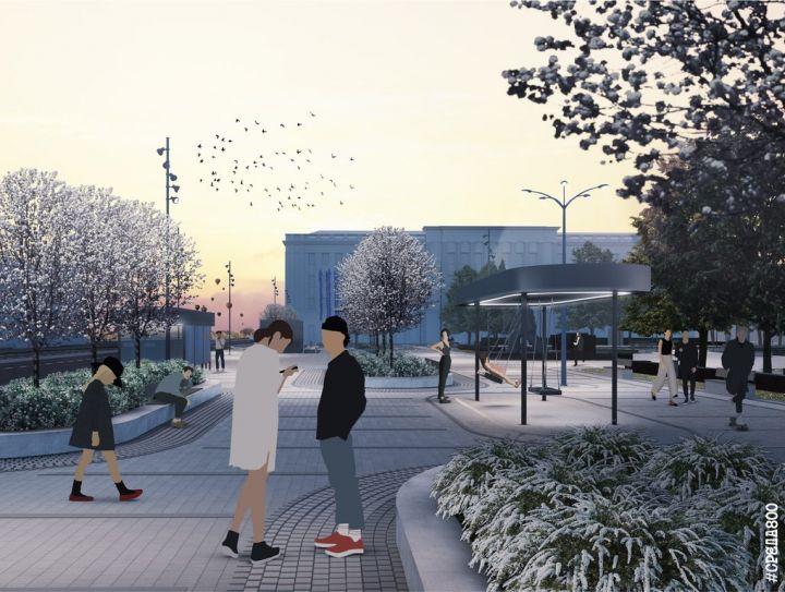 Новая площадь Маркина: яблони, навесы с качелями и мемориал