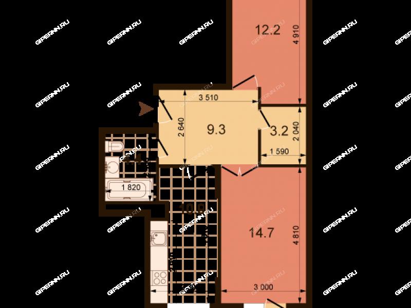 двухкомнатная квартира на улице Июльских Дней дом 1 к2